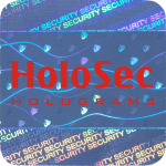 Design 1 Blue hologram with red logo